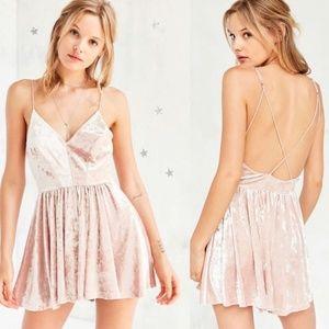Silence + Noise Pink Crushed Velvet Romper Dress